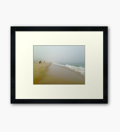 People by the Misty Ocean Framed Print