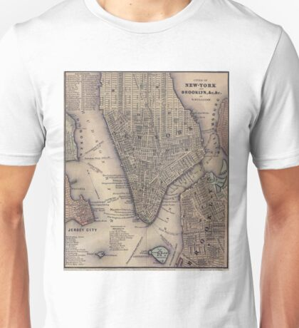 Vintage NYC and Brooklyn Map (1847) Unisex T-Shirt