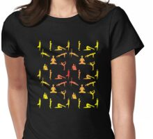 Yoga Positions In Gradient Colors Womens Fitted T-Shirt