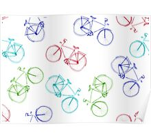 Bicycles doodle Poster