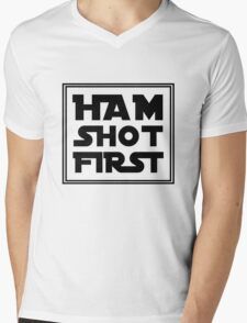 Ham Shot First - Black Mens V-Neck T-Shirt