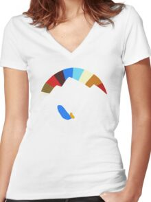 Last Man On Earth Rainbow Mountain w/ Waves Phil Miller Women's Fitted V-Neck T-Shirt