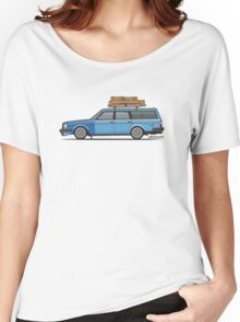 Volvo 245 Brick Wagon 200 Series Blue Shopping Wagon Women's Relaxed Fit T-Shirt