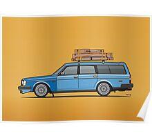 Volvo 245 Brick Wagon 200 Series Blue Shopping Wagon Poster