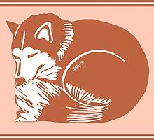 Sleeping Copper Husky with Rosy Peach by AbigailDavidson