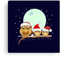 Cute Owls family with Santa hats on abranch Canvas Print