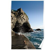 Waves crashing in Vernazza Poster