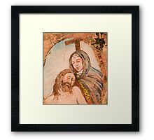 Religious painting on wall in Monterosso al Mar Framed Print