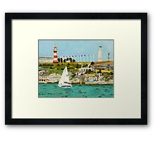Plymouth Sound and Lighthouse Framed Print