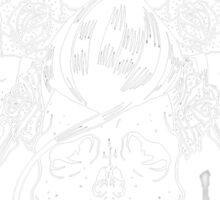 Rockabilly skull Trio Sticker