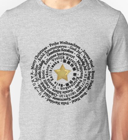 Merry Christmas in Different Languages - Black design Unisex T-Shirt