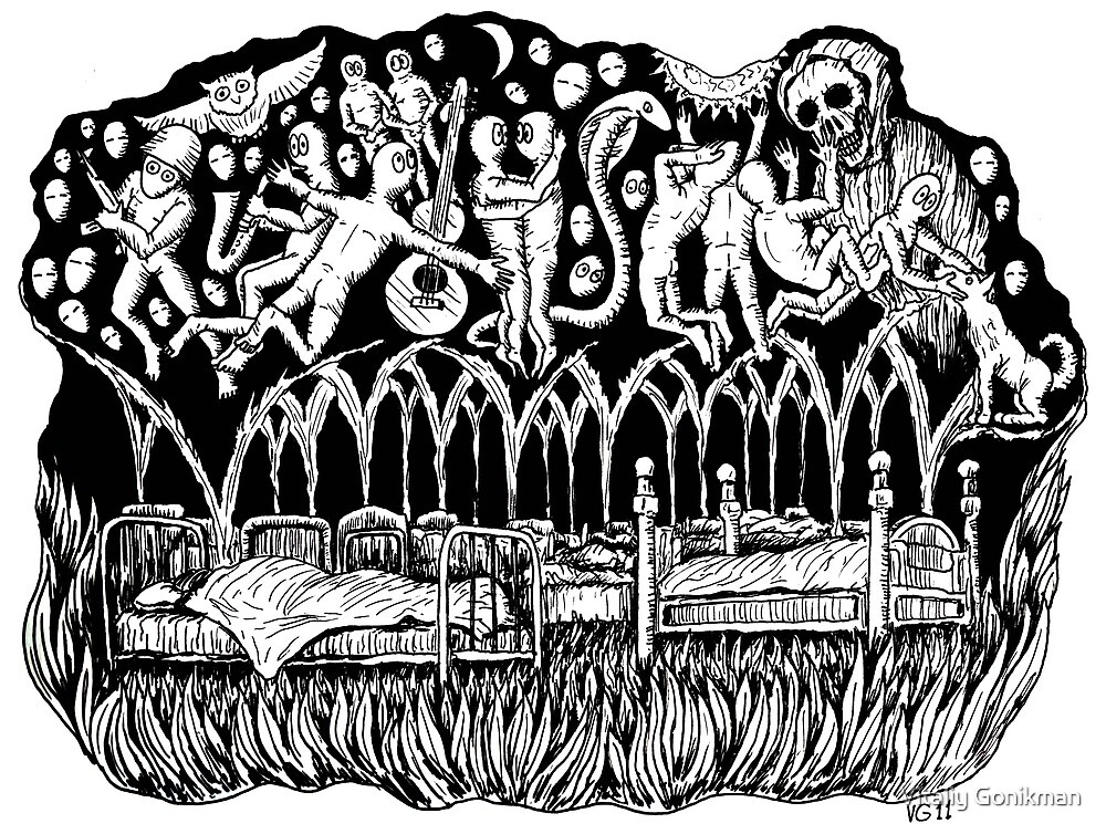 Dreams surreal black and white pen ink drawing by Vitaliy Gonikman
