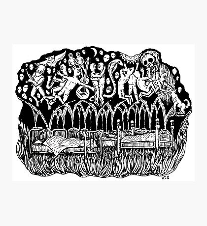 Dreams surreal black and white pen ink drawing Photographic Print