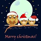 Cute Owl family with Santa hats on a branch + text by walstraasart