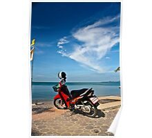 Red Moped at Seaside Poster