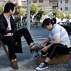 Shoe Polishing Service On Street by Kasi ZX Xie