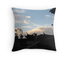 dali rooftop sunset Throw Pillow