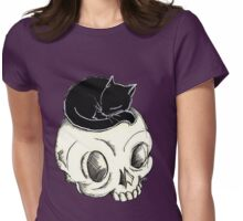 Skull and Kitty Womens Fitted T-Shirt