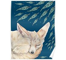 Fennec Fox Feather Dreams in Turquoise Poster