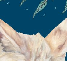 Fennec Fox Feather Dreams in Turquoise Sticker