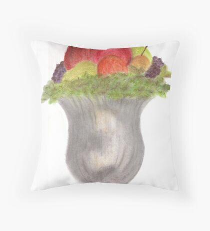 Still Life in Mercury Glass with Fruit Throw Pillow