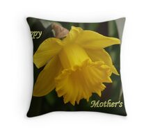 """Honour of Mothers""  One Single Narcissus Daffodil Throw Pillow"