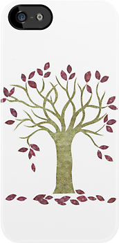 Tree 2 (white) iPhone caes by Kelly Gatchell Hartley