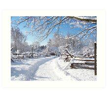 Snowy farm lane Art Print