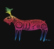 Tribal Moose Rainbow T-Shirt by Roberta  Murray