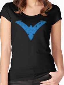 Nightwing Damaged (Blue) Women's Fitted Scoop T-Shirt