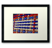 Glass Art - Red, White & Blue Framed Print