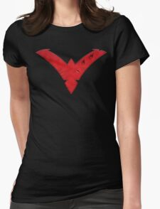 Nightwing Damaged (Red) Womens Fitted T-Shirt