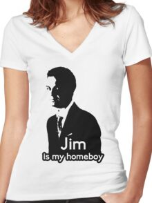Jim is My Homeboy Women's Fitted V-Neck T-Shirt