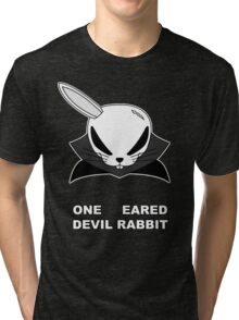 The Front of Armament - One eared Devil Rabbit Tri-blend T-Shirt