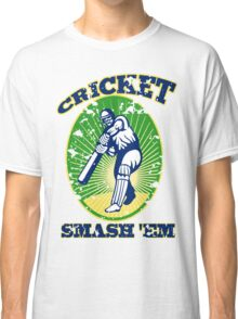 cricket player batsman batting smash 'em retro Classic T-Shirt