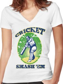 cricket player batsman batting smash 'em retro Women's Fitted V-Neck T-Shirt
