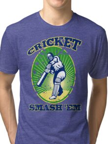 cricket player batsman batting smash 'em retro Tri-blend T-Shirt