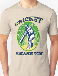 cricket player batsman batting smash 'em retro Unisex T-Shirt