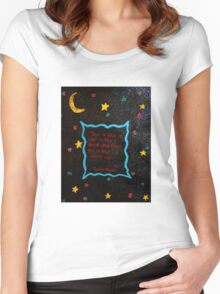 Black cat in the darkness. Women's Fitted Scoop T-Shirt