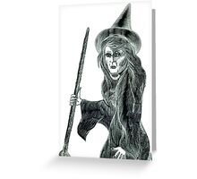 Halloween Witch Pencil Drawing. Greeting Card