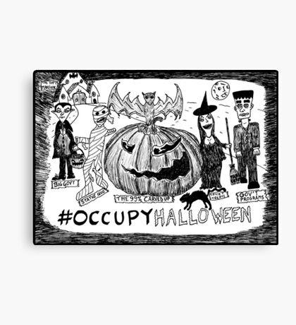 Occupy Halloween cartoon Canvas Print