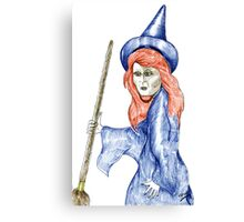 Halloween Witch Coloured Pencil Version. Canvas Print