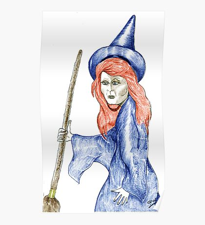 Halloween Witch Coloured Pencil Version. Poster