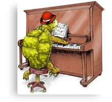 Piano Playing Turtle Art Canvas Print