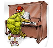 Piano Playing Turtle Art Poster