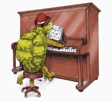 Piano Playing Turtle Art One Piece - Short Sleeve