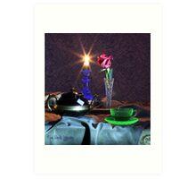 Green Tea Cup with rose (still life) Art Print