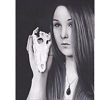Original Realism Charcoal Drawing of Beautiful Woman with Reptile Skull Photographic Print