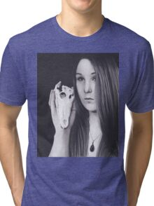 Original Realism Charcoal Drawing of Beautiful Woman with Reptile Skull Tri-blend T-Shirt