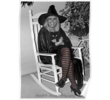 Beautiful good Witch with her Black Cat Poster